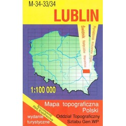 Lublin. Mapa topograficzna Polski 1:100 000