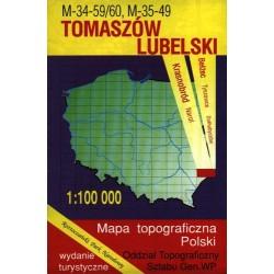 Tomaszów Lubelski. Mapa topograficzna Polski 1:100 000