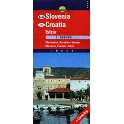 Słowenia - Chorwacja - Istria. Mapa samochodowa 1:500 000