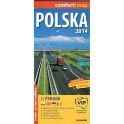Polska. Mapa samochodowa laminowana 1:750 000 2014 r.
