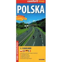 Polska. Mapa samochodowa laminowana 1:1000000 2016 r.