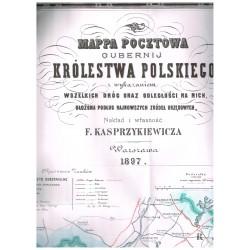 Mapa pocztowa Gubernij Królestwa Polskiego 1897