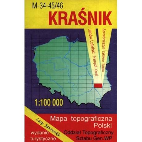 Kraśnik. Mapa topograficzna Polski 1:100 000