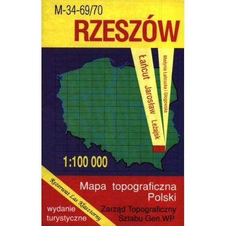 Rzeszów. Mapa topograficzna Polski 1:100 000