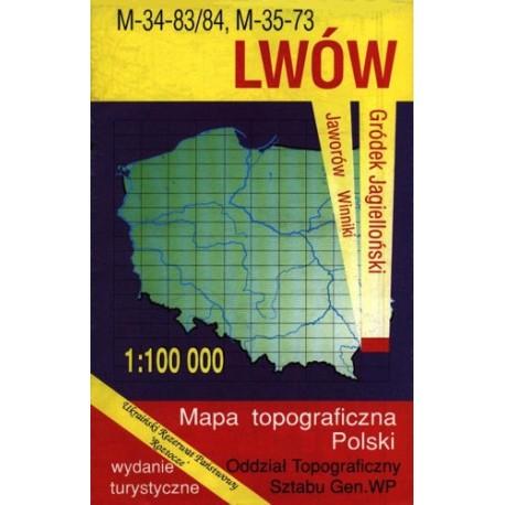 Lwów. Mapa topograficzna Polski 1:100 000