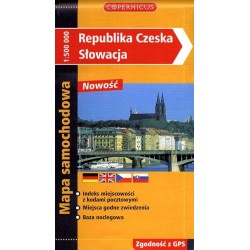 Republika Czeska - Słowacja. Mapa samochodowa 1:500 000