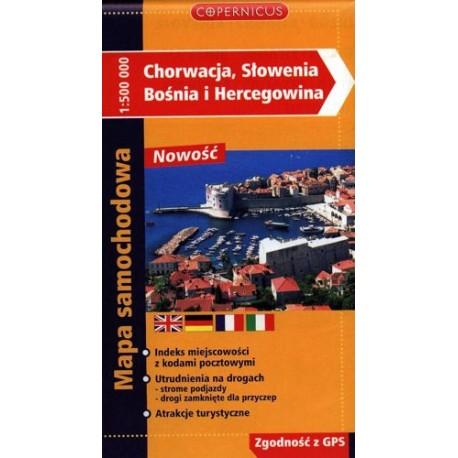 Chorwacja - Słowenia - Bośnia i Hercegowina. Mapa samochodowa