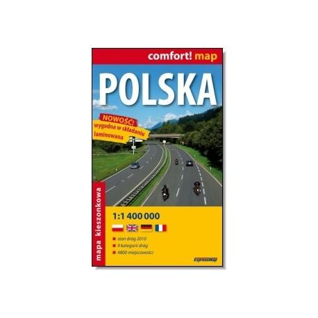 Polska. Mapa samochodowa laminowana 1:1 400 000